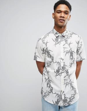 Only & Sons Узкая рубашка с короткими рукавами и принтом. Цвет: бежевый