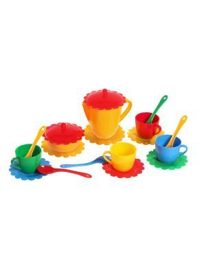 Набор посуды Ромашка на 4 персоны (большой) ТИГРЕС. Цвет: синий, зеленый, красный, желтый
