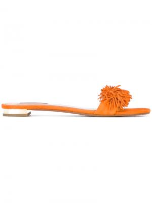Шлепанцы Wild Thing Aquazzura. Цвет: жёлтый и оранжевый