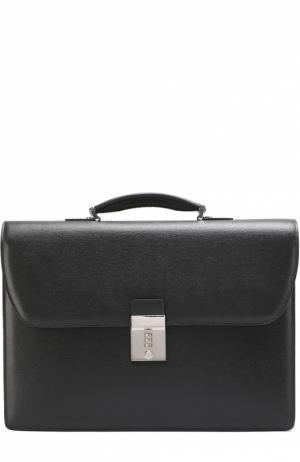 Кожаный портфель с плечевым ремнем Canali. Цвет: черный