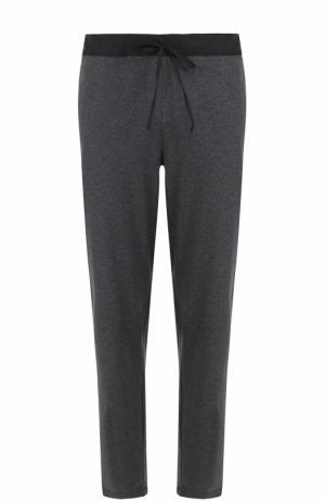 Хлопковые домашние брюки с поясом на кулиске Hanro. Цвет: темно-серый