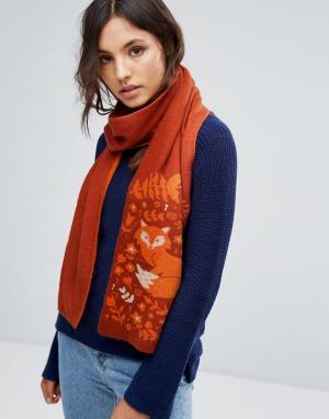 Alice Hannah Жаккардовый шарф с лисой. Цвет: рыжий