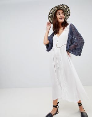 Anmol Пляжное платье макси с отделкой кроше. Цвет: белый
