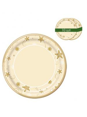 Набор одноразовых десертных тарелок Звезды, диаметр 22,5 см, 10 шт/упак Bulgaree Green. Цвет: золотистый
