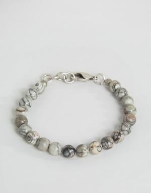 Seven London Серо-белый браслет из бусин с мраморным эффектом. Цвет: серый