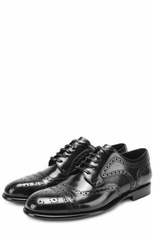 Кожаные дерби Milano с брогированием Dolce & Gabbana. Цвет: черный