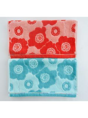 Полотенца банные, 2 шт A and C Collection. Цвет: коралловый, лазурный