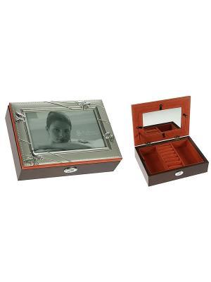 Шкатулка-фоторамка ювелирная MORETTO. Цвет: серебристый, темно-коричневый