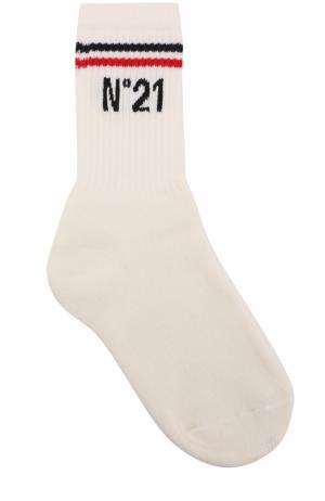 Хлопковые носки с логотипом бренда No. 21. Цвет: белый