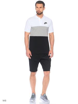 Футболка-поло M NSW POLO PQ MATCHUP CLRBLK Nike. Цвет: белый, черный, серый
