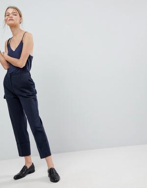 Selected Свободные брюки с отворотами Femme. Цвет: темно-синий