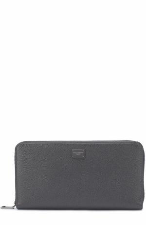 Кожаный бумажник на молнии с отделениями для кредитных карт и монет Dolce & Gabbana. Цвет: темно-серый