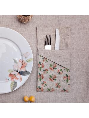 Конверт для столовых приборов Прованс Узор из роз со скошенным углом (1 отделение) Счастье в мелочах. Цвет: светло-серый