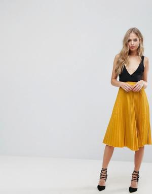 Outrageous Fortune Пышная плиссированная юбка миди. Цвет: желтый