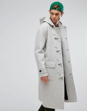 ASOS Серый меланжевый дафлкот из ткани с добавлением шерсти. Цвет: серый