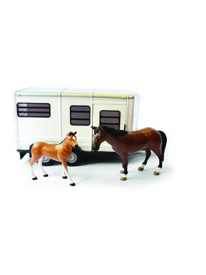 Прицеп для перевозки лошадей с лошадью и жеребенком TOMY.. Цвет: белый