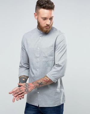Hoxton Shirt Company Льняная рубашка узкого кроя. Цвет: серый