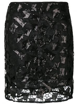 Юбка с отделкой пайетками Iro. Цвет: чёрный