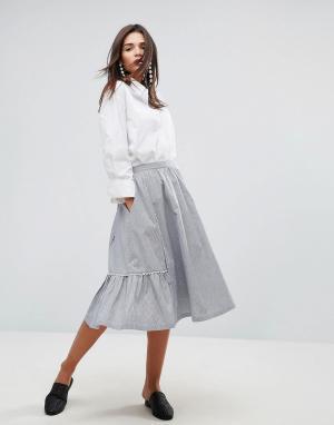 YMC Хлопковая юбка-трапеция миди с фигурным краем. Цвет: синий