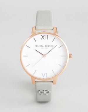 Olivia Burton Часы с серым кожаным ремешком и бантиком OB16VB06 Vintag. Цвет: серый