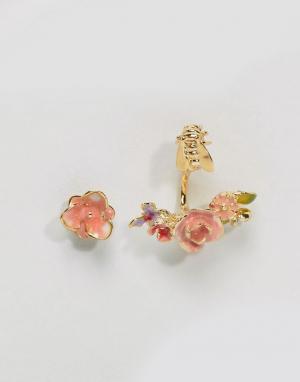Bill Skinner Позолоченные серьги-гвоздики в винтажном стиле с розой. Цвет: золотой