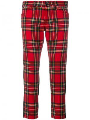 Укороченные джинсы с клетчатой панелью Junya Watanabe Comme Des Garçons. Цвет: красный