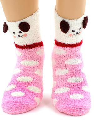 Носки HOBBY LINE. Цвет: розовый, белый