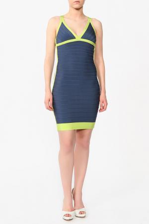 Платье Herve Leger. Цвет: синий