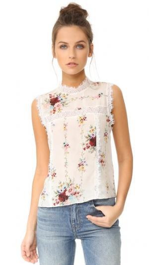 Комбинированная блуза без рукавов Jonie Lac alice + olivia. Цвет: винтажный кремовый букет