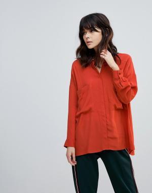 ASOS Oversize-рубашка в стиле милитари DESIGN. Цвет: коричневый