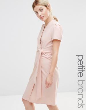 Alter Petite Чайное платье миди с запахом. Цвет: розовый