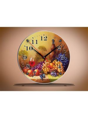 Настенные часы круглые под стеклом Натюрморт PROFFI. Цвет: желтый, черный, синий, серо-коричневый, сливовый, коричневый, серо-зеленый, фиолетовый, красный, оранжевый