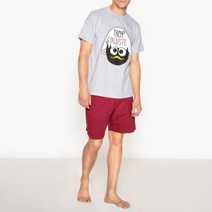 Пижама  с шортами из хлопка принтом Calimero. Цвет: серый меланж + красный