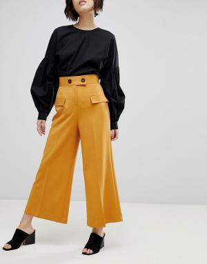 ASOS Кюлоты с карманами в стиле милитари и пуговицами. Цвет: желтый