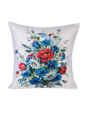 Декоративная наволочка Луговые цветы Рапира. Цвет: голубой, зеленый, красный