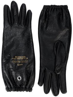 Перчатки из кожи ягненка Balenciaga. Цвет: чёрный