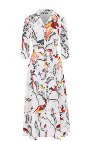 Приталенное платье-рубашка с принтом Erdem. Цвет: разноцветный
