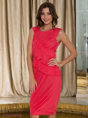 Платье Fairly. Цвет: коралловый