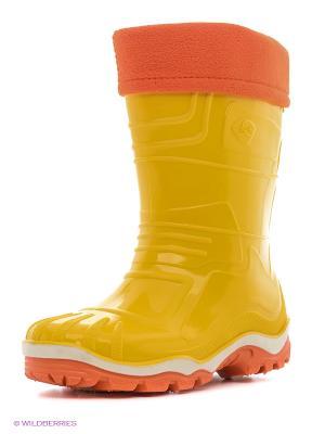 Резиновые сапоги Дюна. Цвет: оранжевый, золотистый