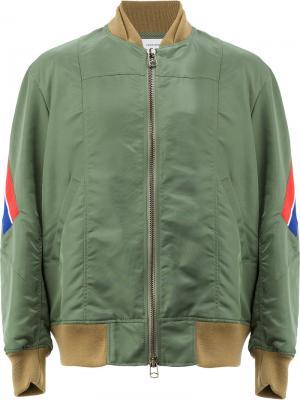 Куртка-бомбер на молнии Facetasm. Цвет: зелёный