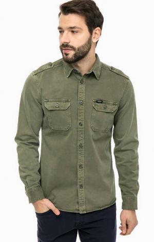 Джинсовая рубашка цвета хаки Wrangler. Цвет: хаки