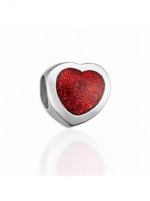 Серебряный шарм с вишнево-серебристой эмалью Сердце Amore&Baci. Цвет: серебристый