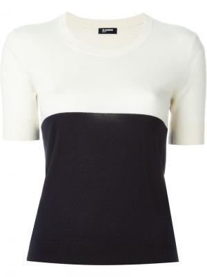 Двухцветный свитер Jil Sander Navy. Цвет: белый