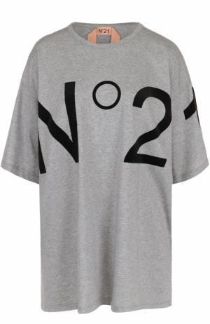 Футболка свободного кроя с логотипом бренда No. 21. Цвет: серый
