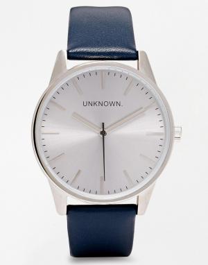 UNKNOWN Часы с серебристым циферблатом и темно-синим кожаным ремешком. Цвет: темно-синий