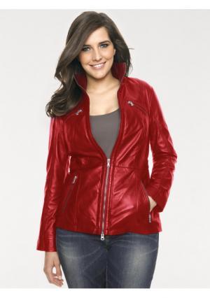 Кожаная куртка PATRIZIA DINI. Цвет: красный, черный