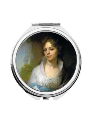 Зеркальце карманное Портрет Лопухиной Chocopony. Цвет: голубой, бежевый