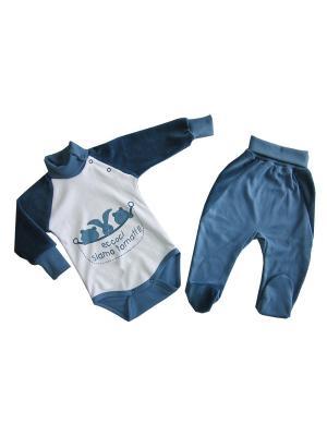 Комплект :боди и ползунки короткие (индиго) ОСЬМИНОЖКА. Цвет: синий, белый