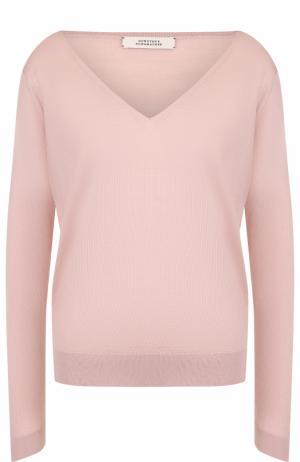 Шерстяной пуловер свободного кроя с V-образным вырезом Dorothee Schumacher. Цвет: розовый