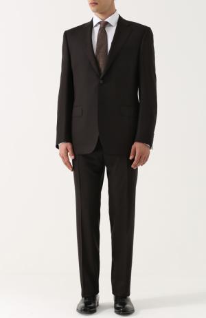 Шерстяной костюм с пиджаком на двух пуговицах Canali. Цвет: коричневый
